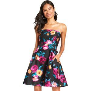 Floral Betsey Johnson Strapless Fit & Flare Dress